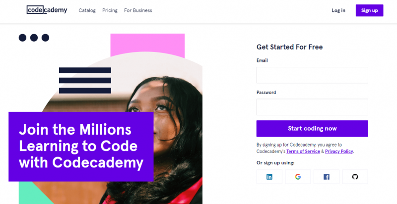 Code Academy home page