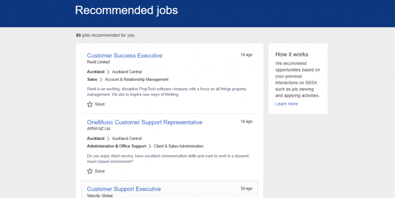 Seek NZ recommended jobs